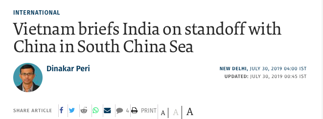 India Involved in China-Vietnam Dispute in the South China